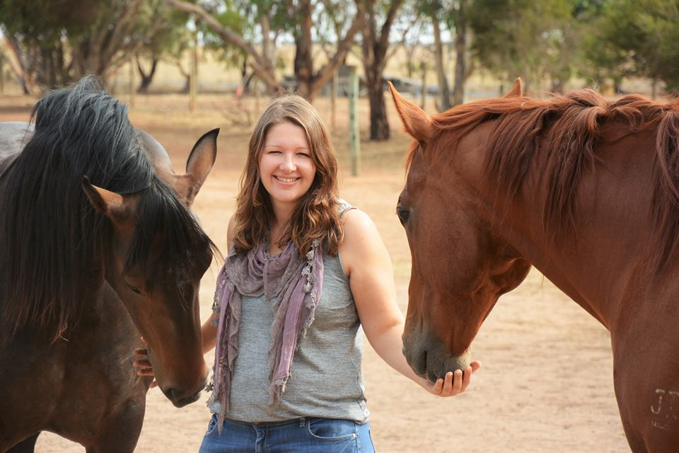 Amii with equine assisted therapy partners Marley and Neil